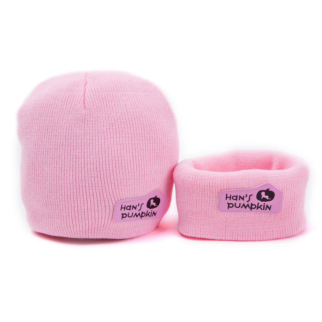 Snug Beanie & Scarf in Light Pink (2pc-set)