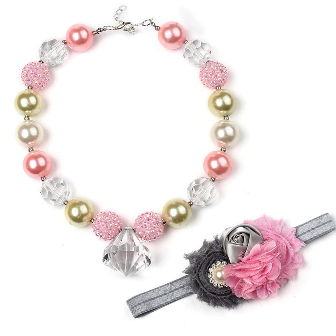 Diamond Charm Necklace and Headband Set
