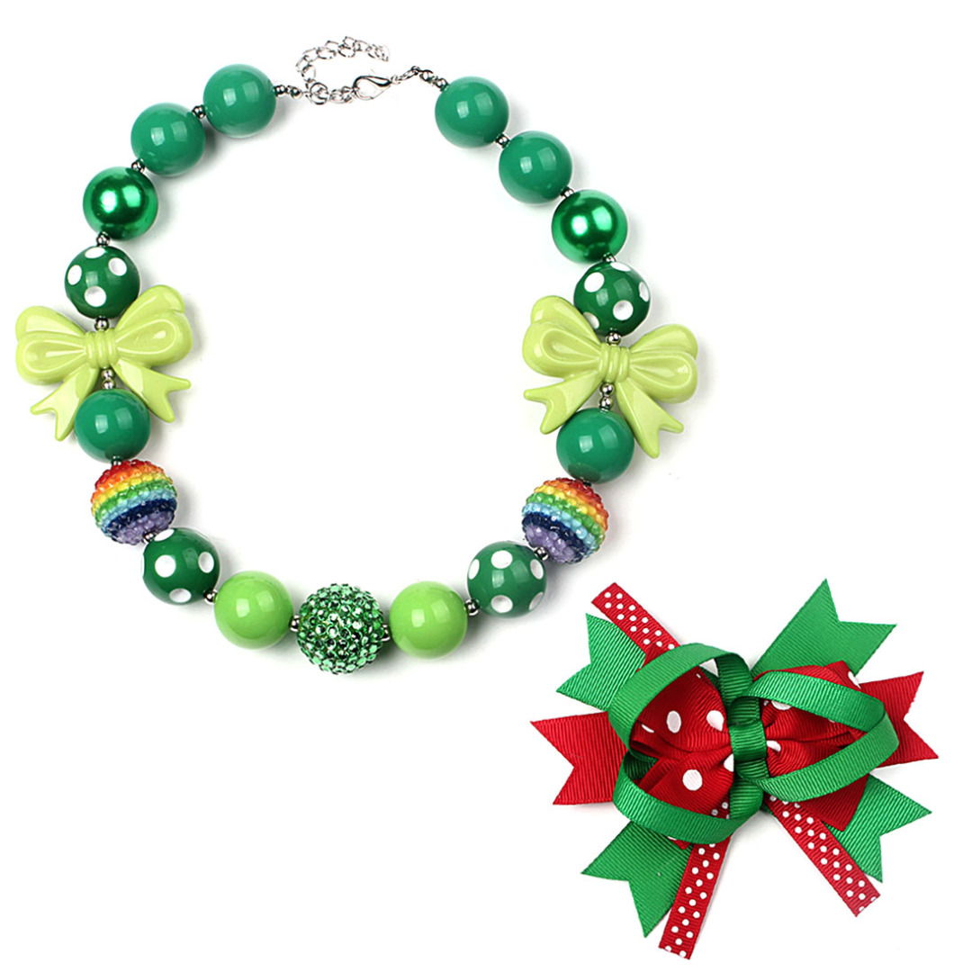 Holiday Cheer Necklace & Hair Clip (2pc-set)