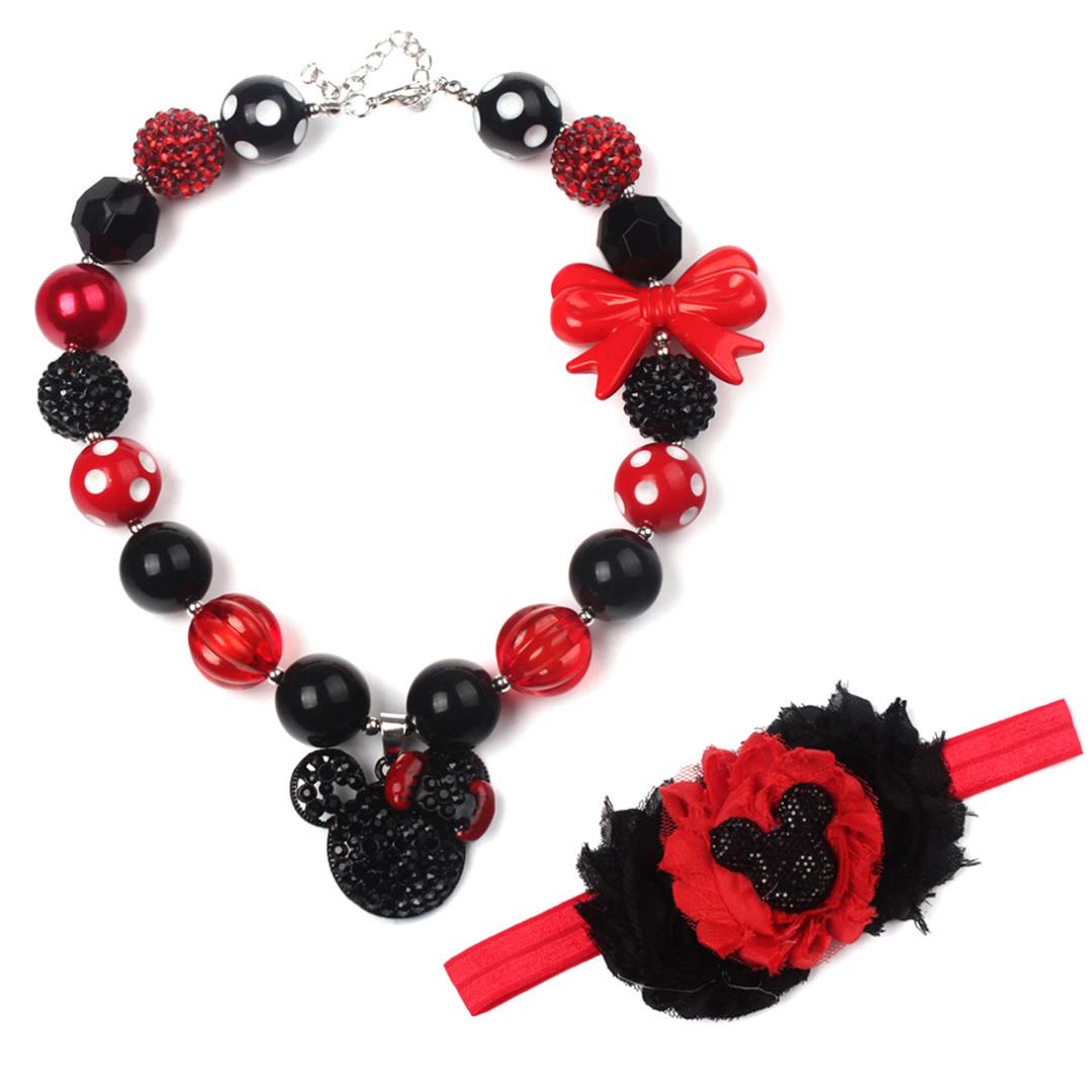 Mouse Charm Necklace & Headband (2pc-set)