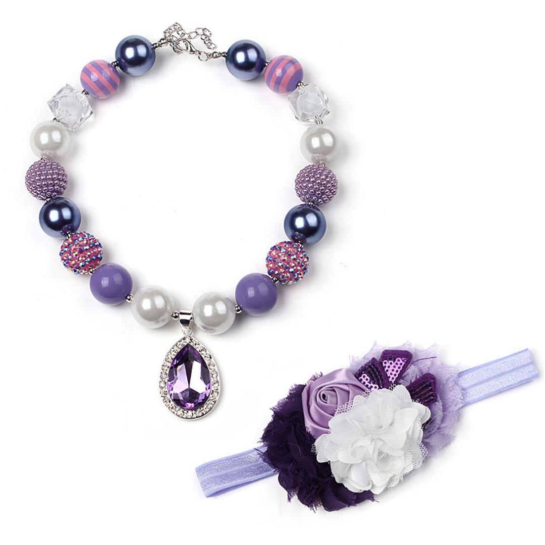 Purple Crystal Necklace & Headband (2pc-set)
