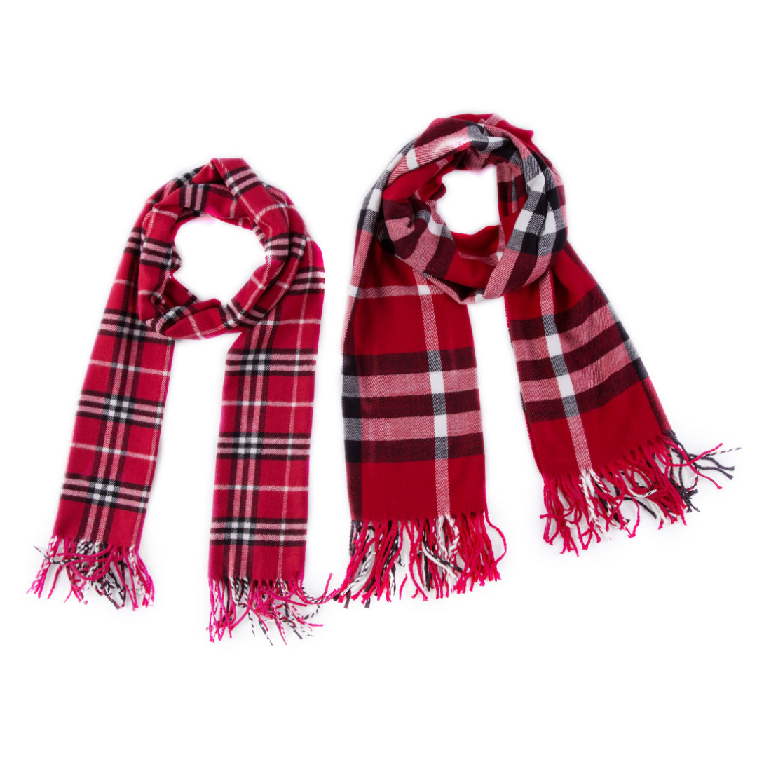 Matching Plaid Scarves  In Red (2pc-set)