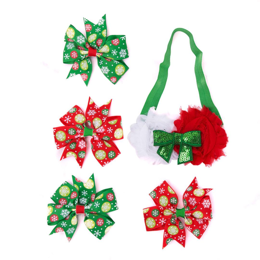 Sweet Snowflake Hair Clips & Headband (5pc-set)