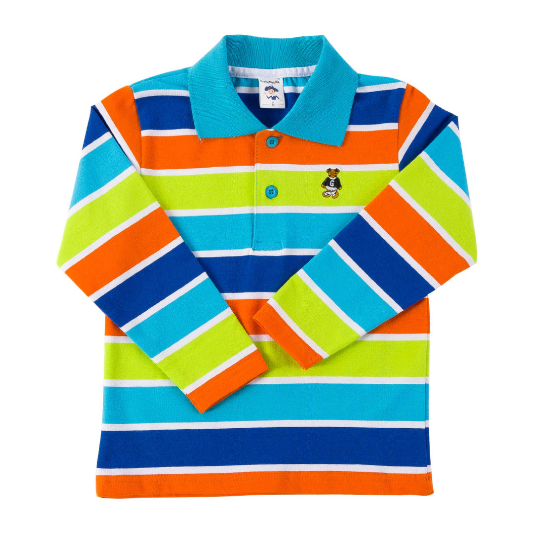 Long Sleeve Polo in Orange & Deep Blue