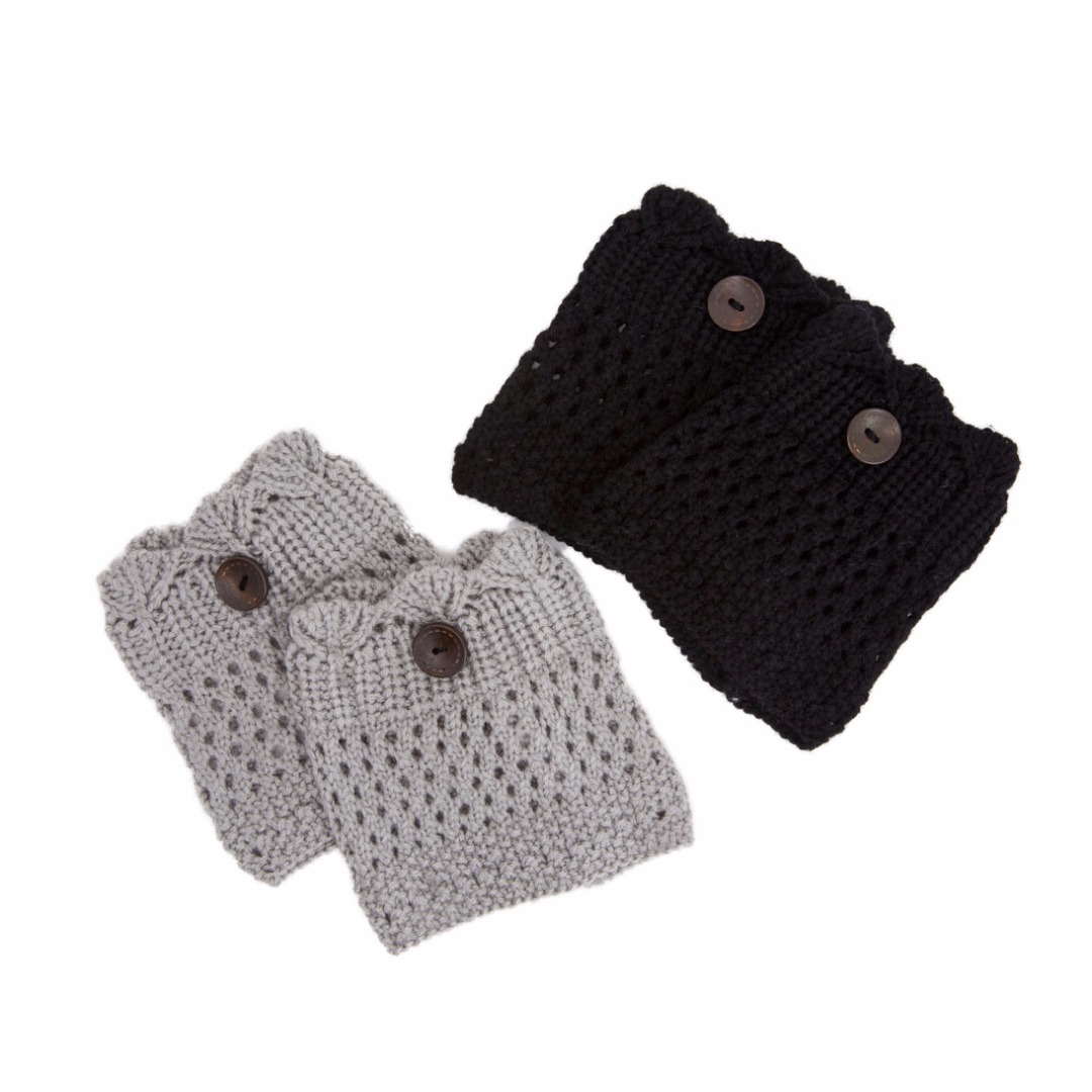 Peek-A-Boo Leg Warmers in Black & Light Grey (2 pack)