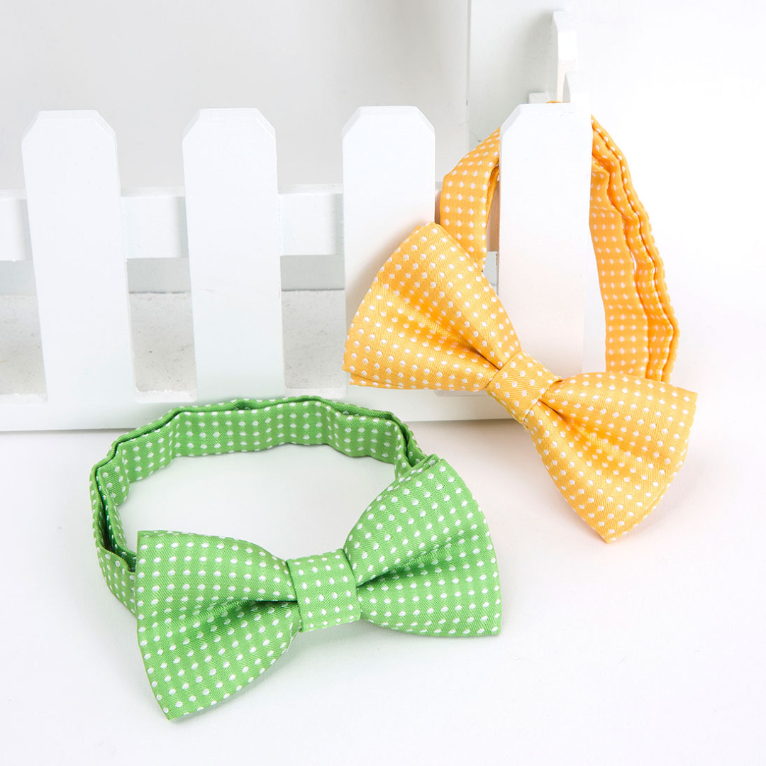 Polka-Dot Bowties in Yellow & Green (2 pack)