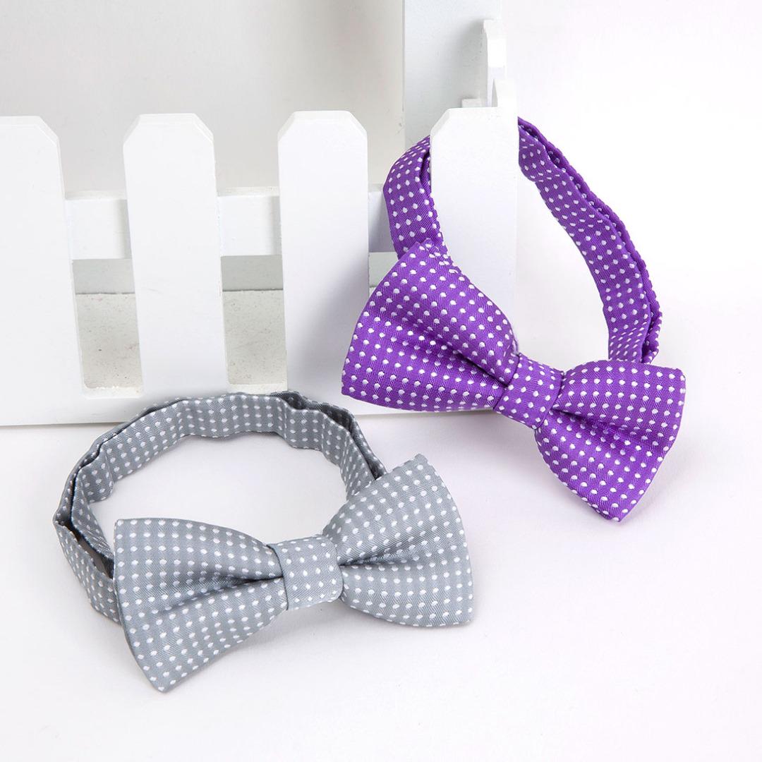 Polka-Dot Bowties in Purple & Gray (2 pack)