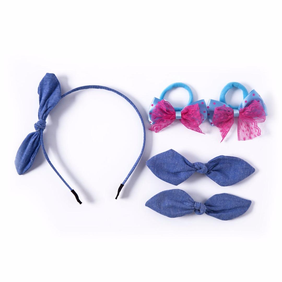 Denim Hair Accessories Set (5pc-set)