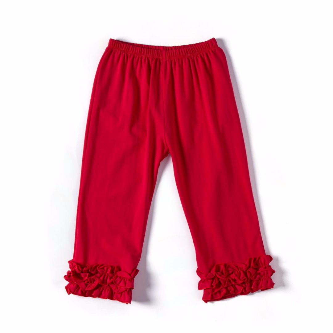 Pure Red Ruffled Pants