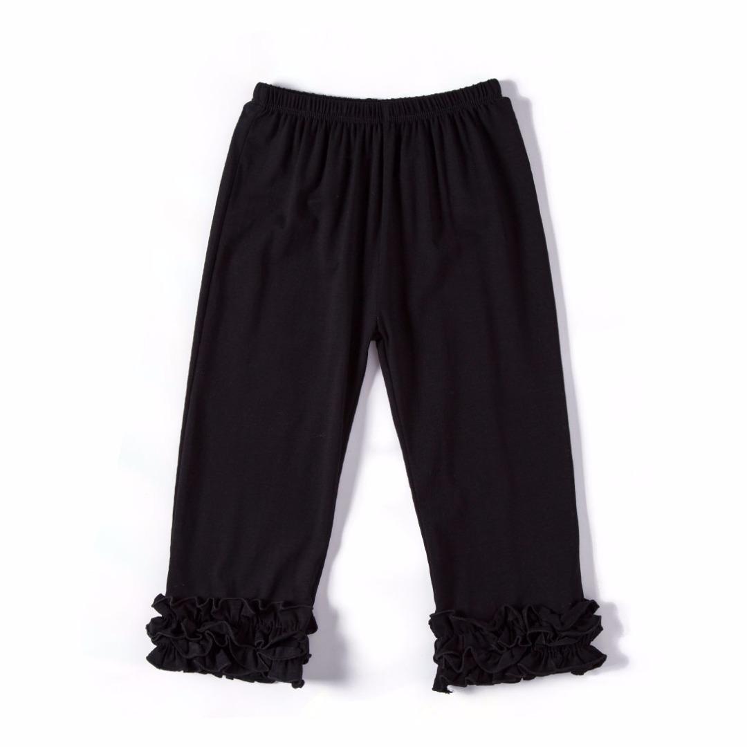 Pure Black Ruffled Pants
