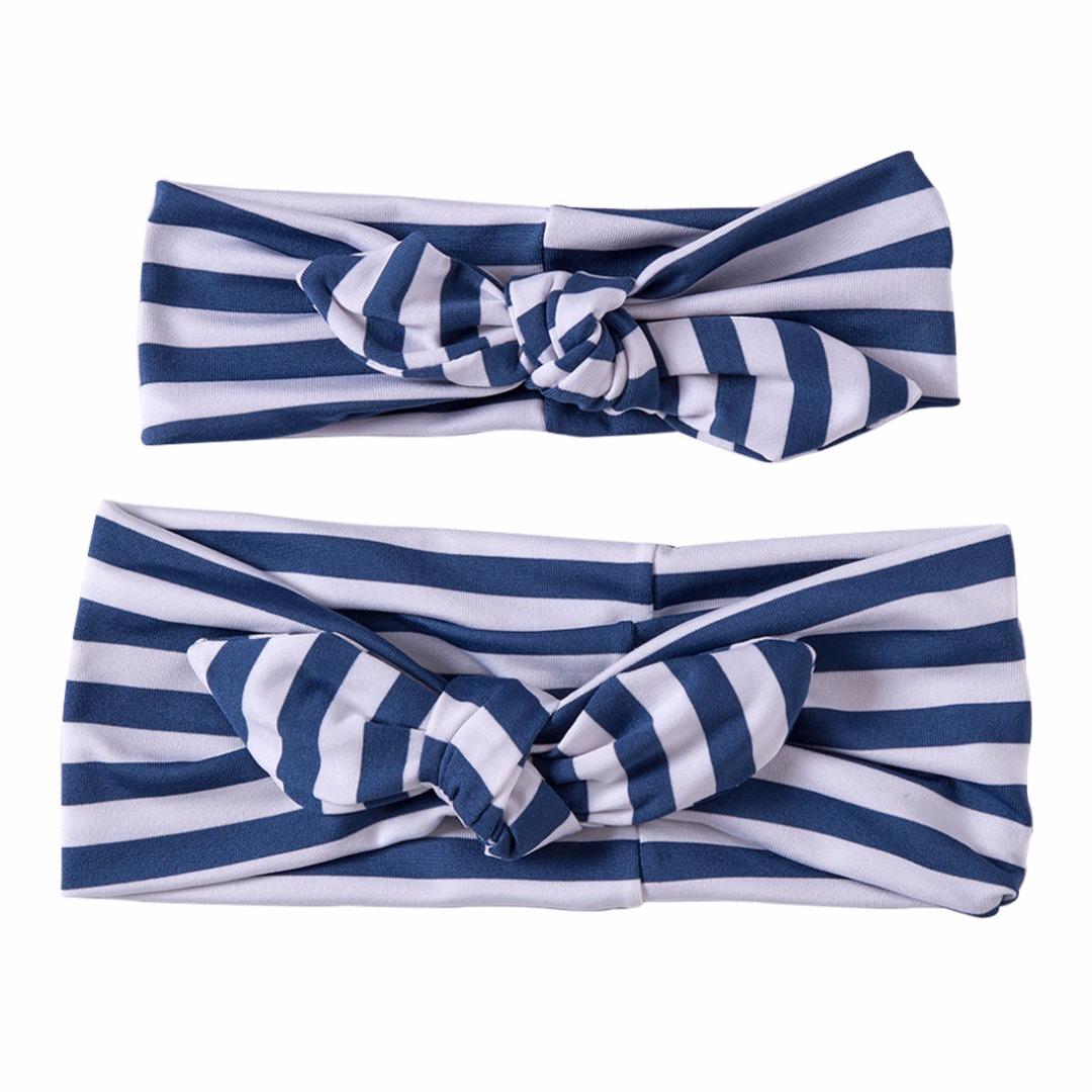 Matching Striped Headbands in Navy Blue