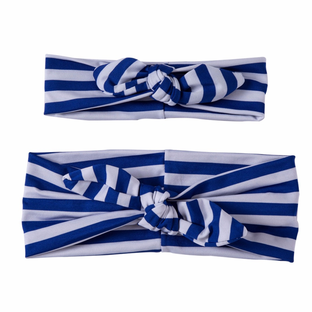 Matching Striped Headbands in Blue