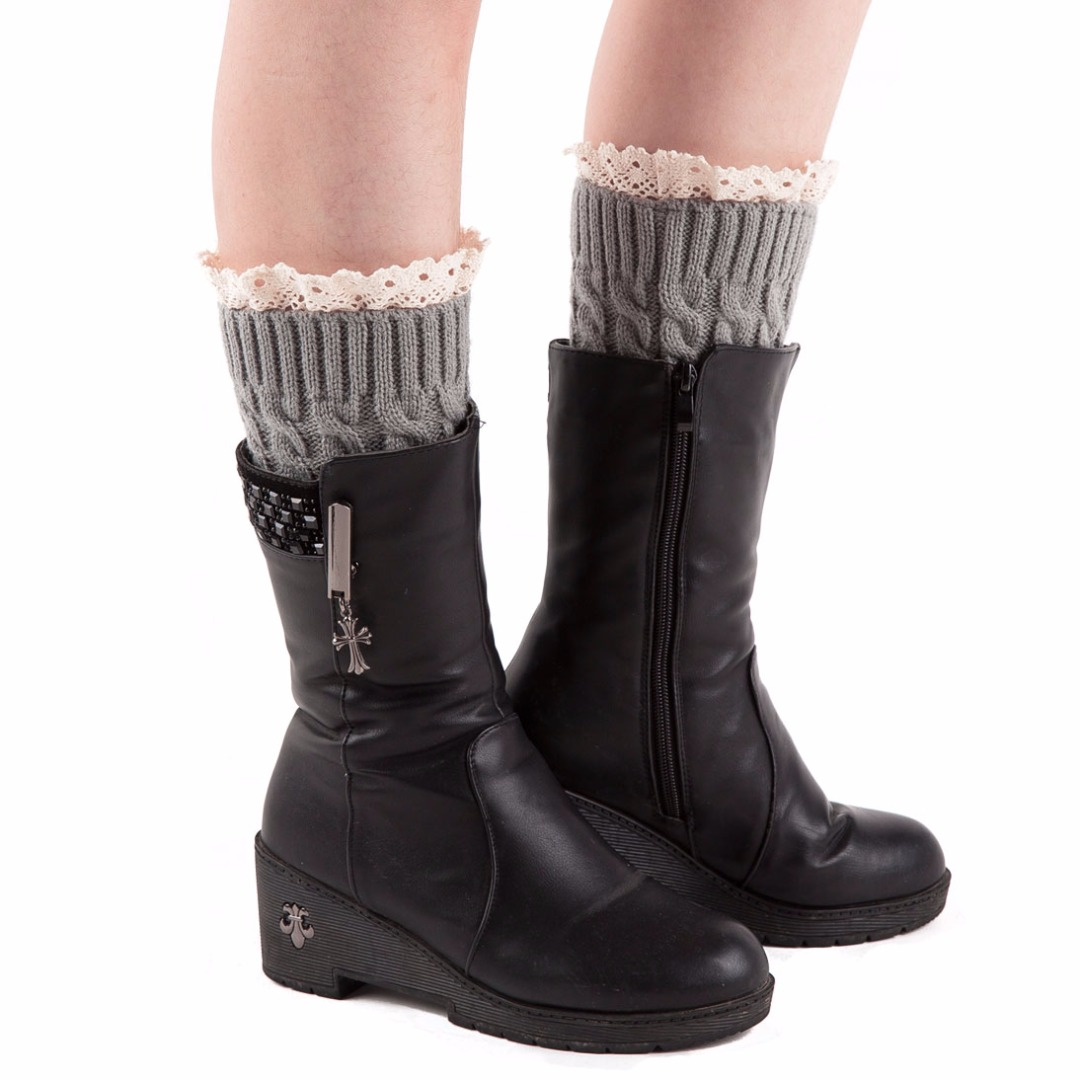 Lace-Trim Leg Warmers in Light Gray