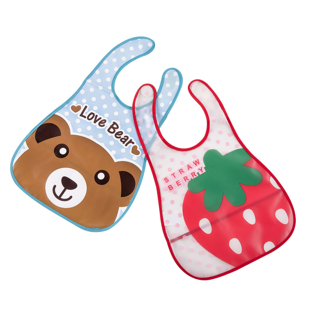 Bear and Strawberry Bibs (2 pack)