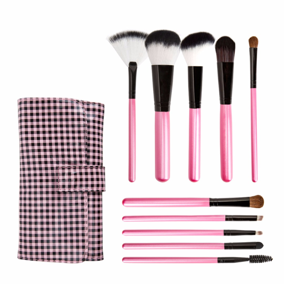 Deep Pink Synthetic Brush Set Foundation Blush Eye Powder Brushes Kit with Classy Plaid Case (10pc-set)