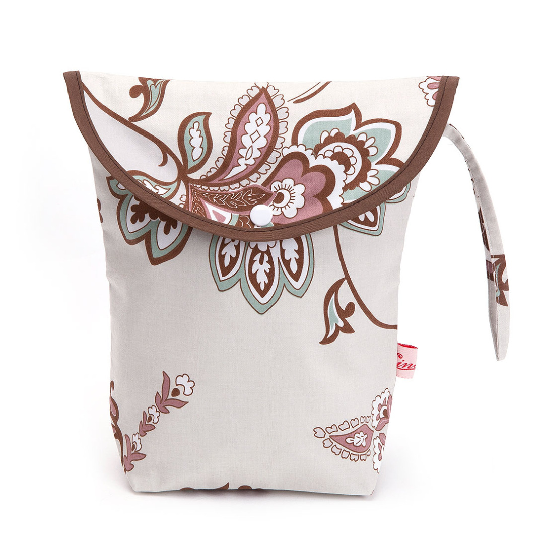 Gray Miscellaneous Floral Wet Bag