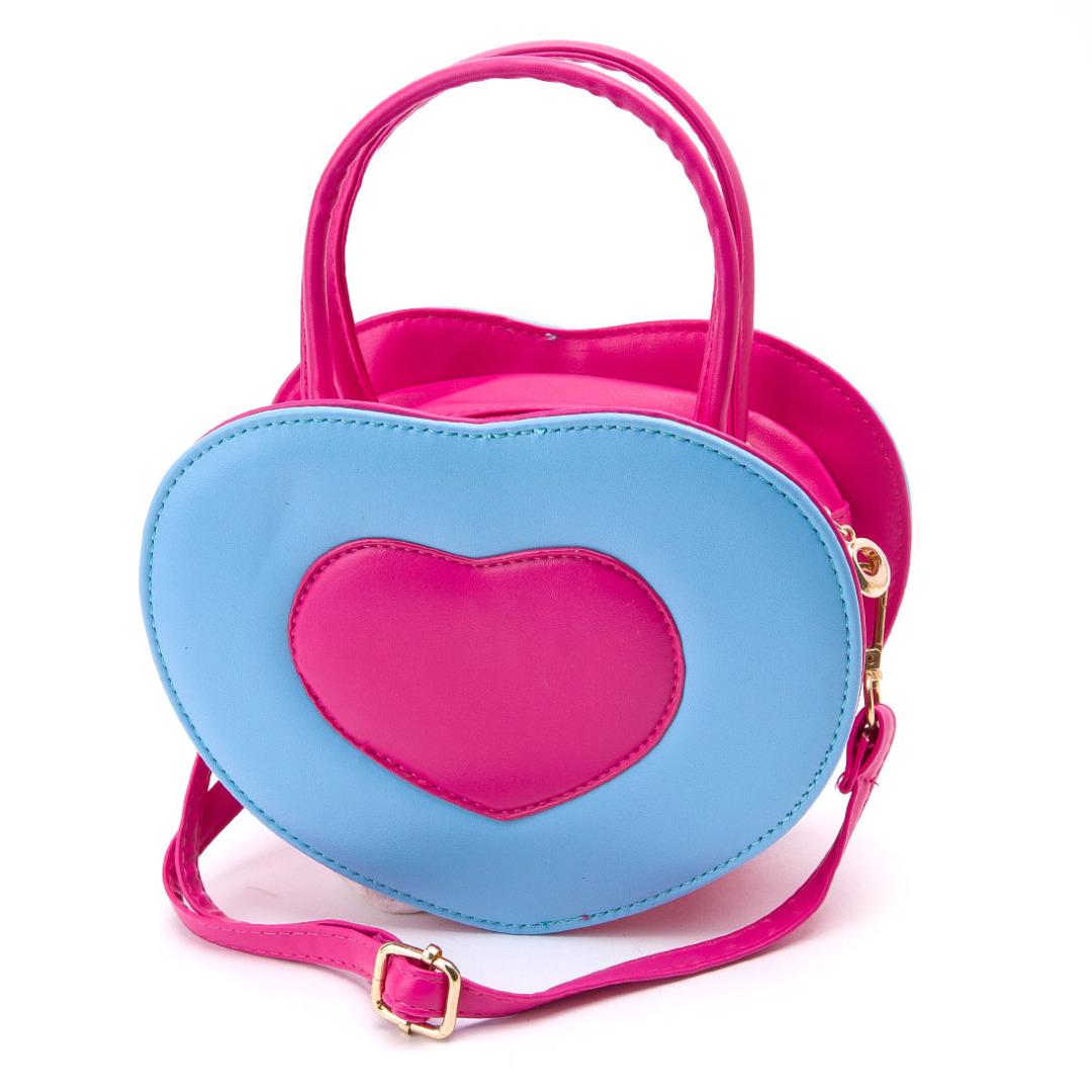 Sweet Heart Shaped PU Purse in Blue