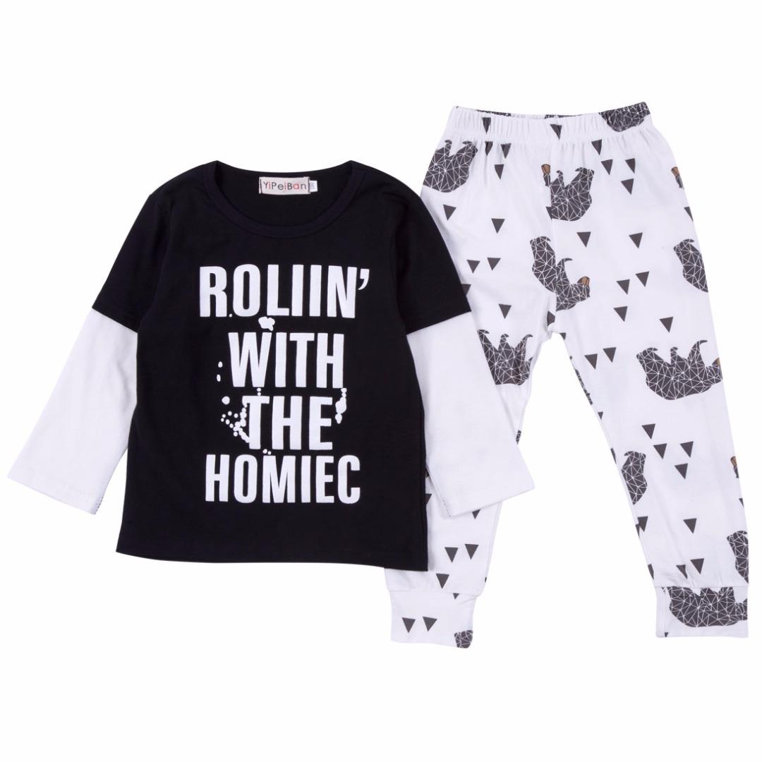 Letter Pullover & Elephant Pants Set