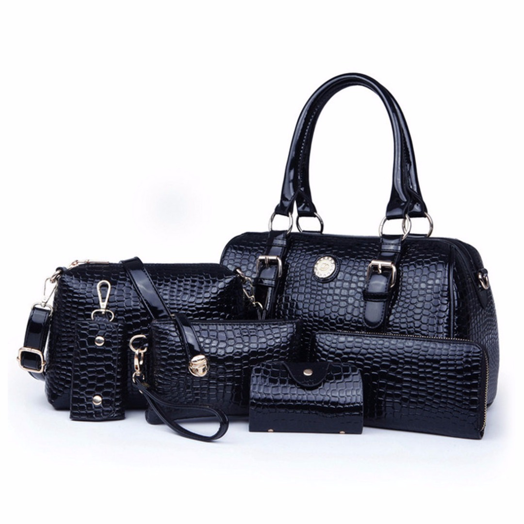 Alligator Skin Bag Set in Black (6pc-set) 28524-en-USD
