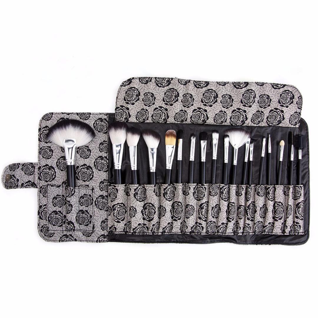 Travel Synthetic Brush Set Foundation Blush Nose Eye Lip Face Powder Brushes Kit with Rose Print Case (18pc-set)