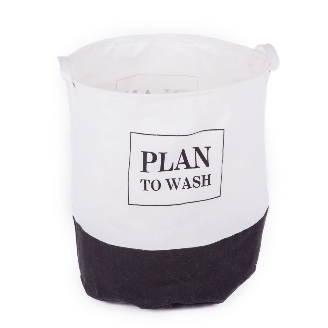 Plan to Wash Linen Laundry Hamper in White and Black