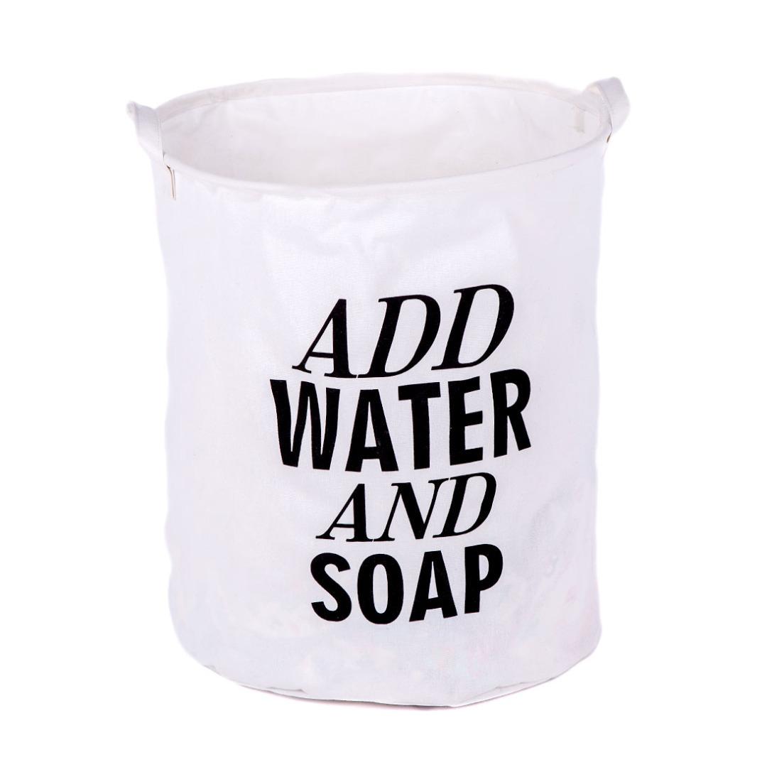 Add Water Linen Laundry Hamper in White