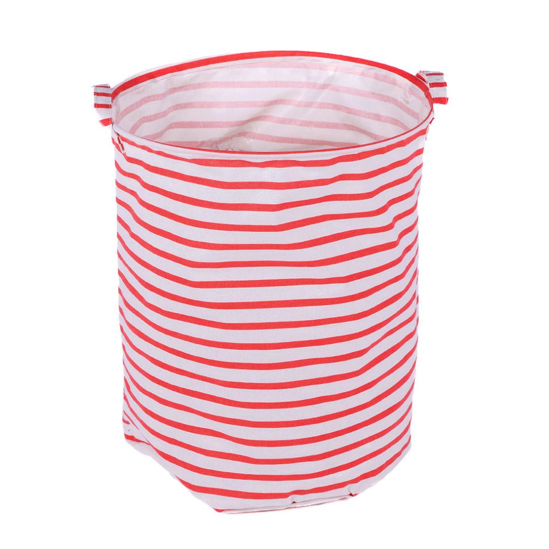 Red Striped Linen Laundry Hamper