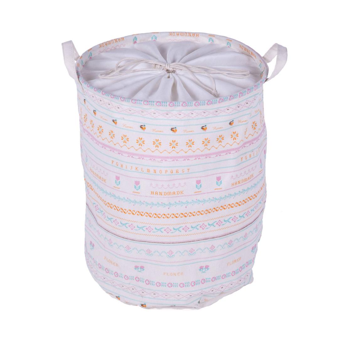 Floral Linen Laundry Hamper