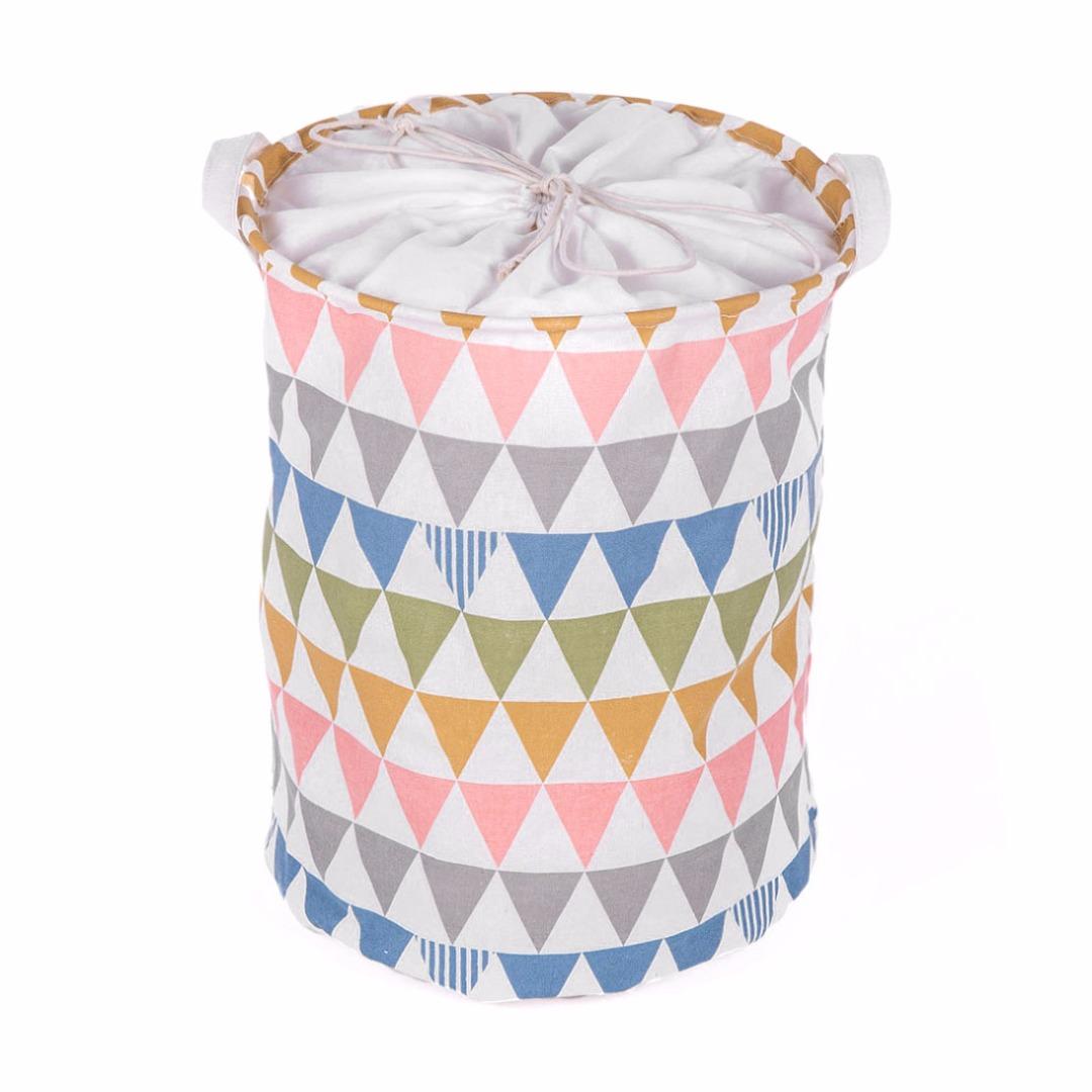 Colorful Triangle Linen Laundry Hamper