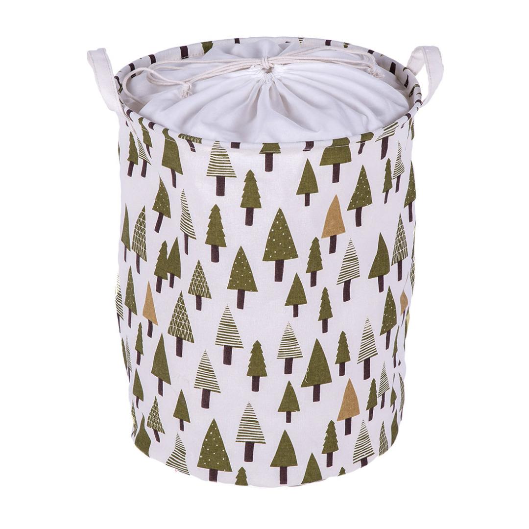 Pine Tree Linen Laundry Hamper