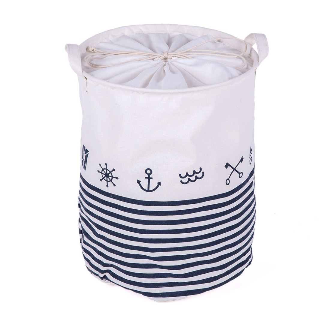 Nautical Linen Laundry Hamper in White and Blue