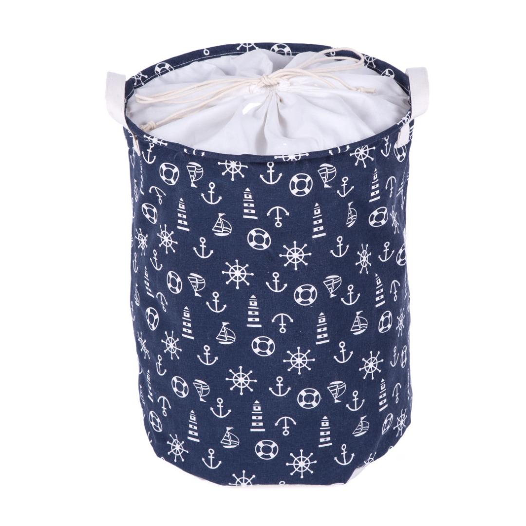 Navy Anchor Linen Laundry Hamper in Blue