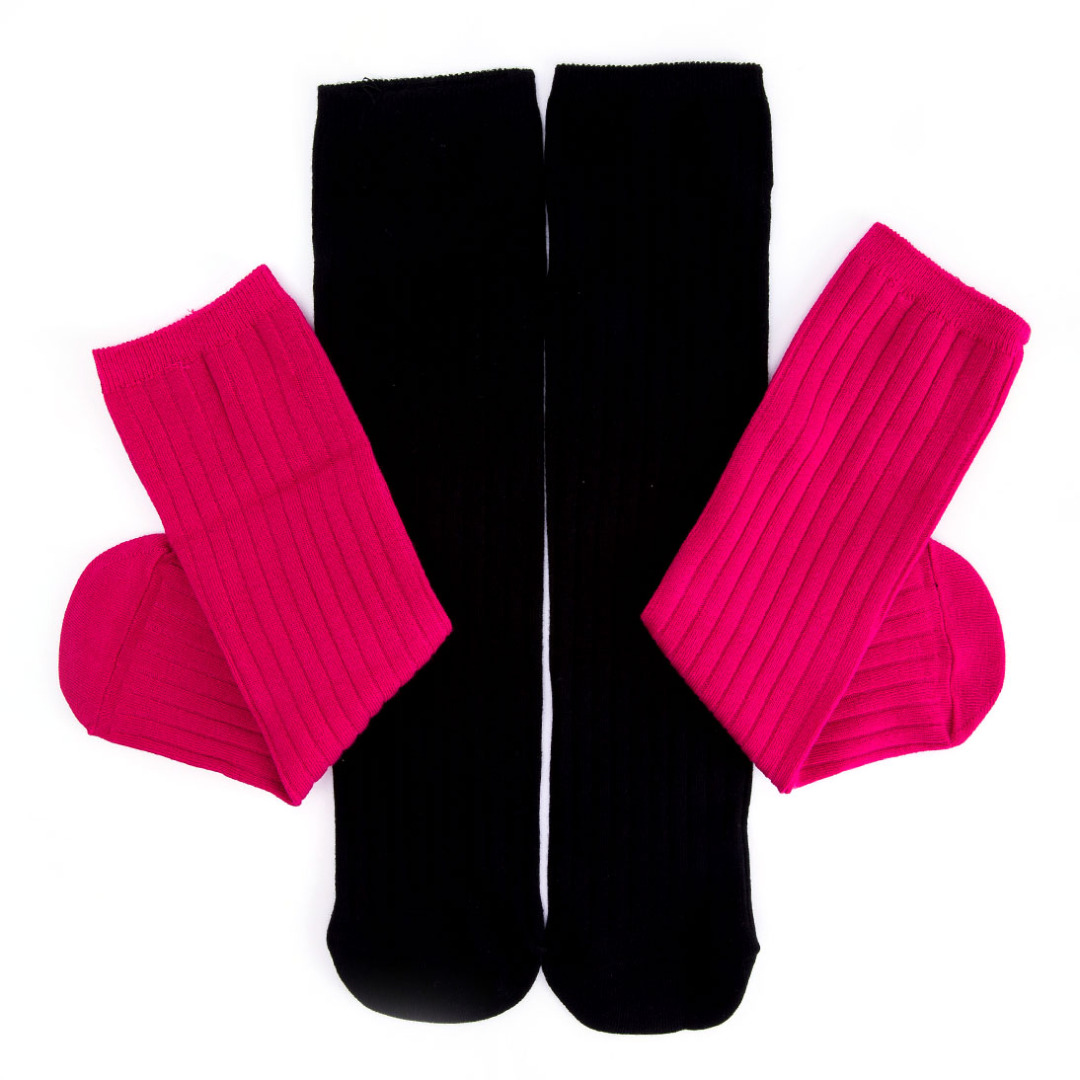 Solid Hot Pink & Black Socks (2 pack)