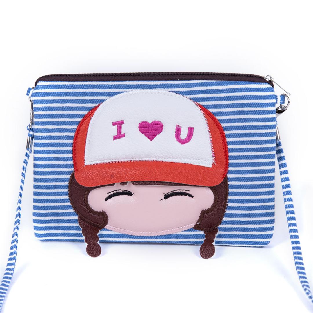 Blue I Love You Stripe Bag