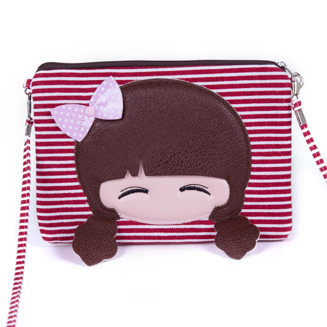 Red Smiling Girl Stripe Bag