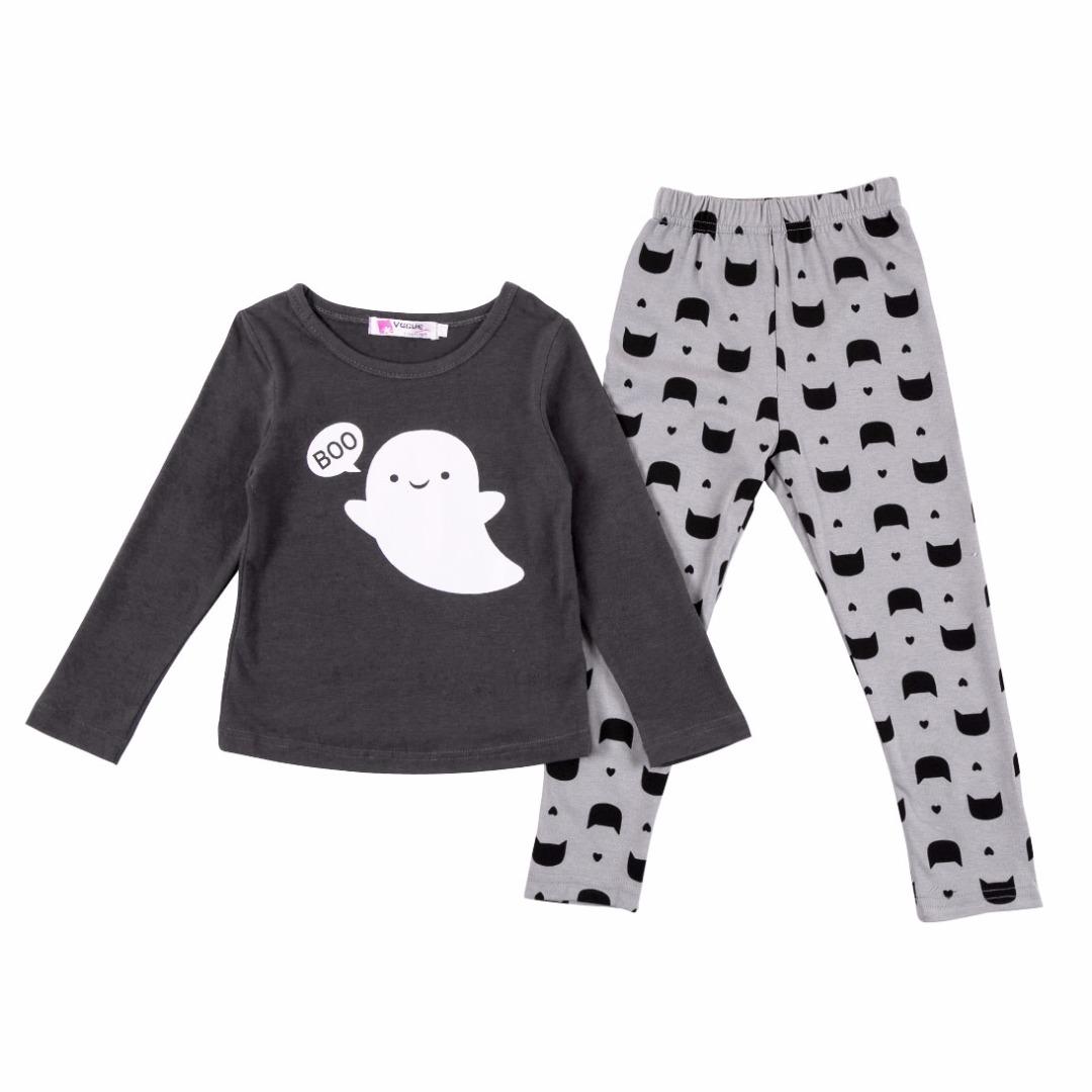 Girl's Boo Who? Long-sleeve Top & Pants/Bottom Set