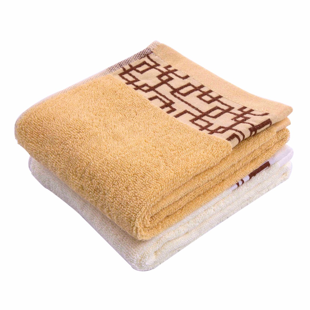 Absorbent Towels in Yellow and Ivory (2 pack)