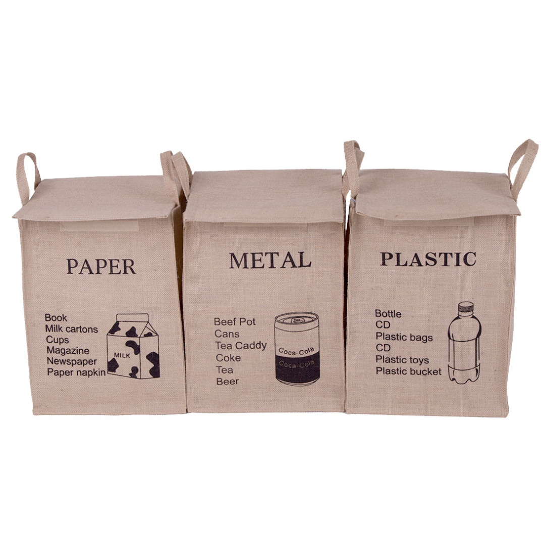 Recycle Friendly Linen Hampers (3pc-set)in Coffe
