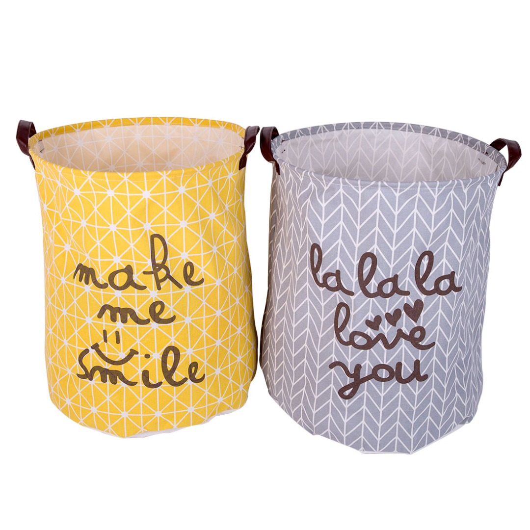 Sweet Love Linen Hamper (2pc-set) in Yellow and Gray