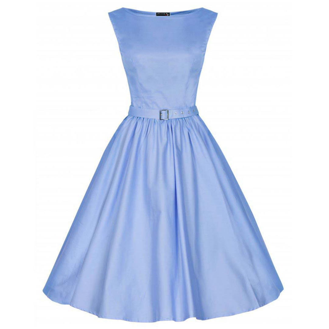 Simple Sleeveless Dress in Light Blue for Women