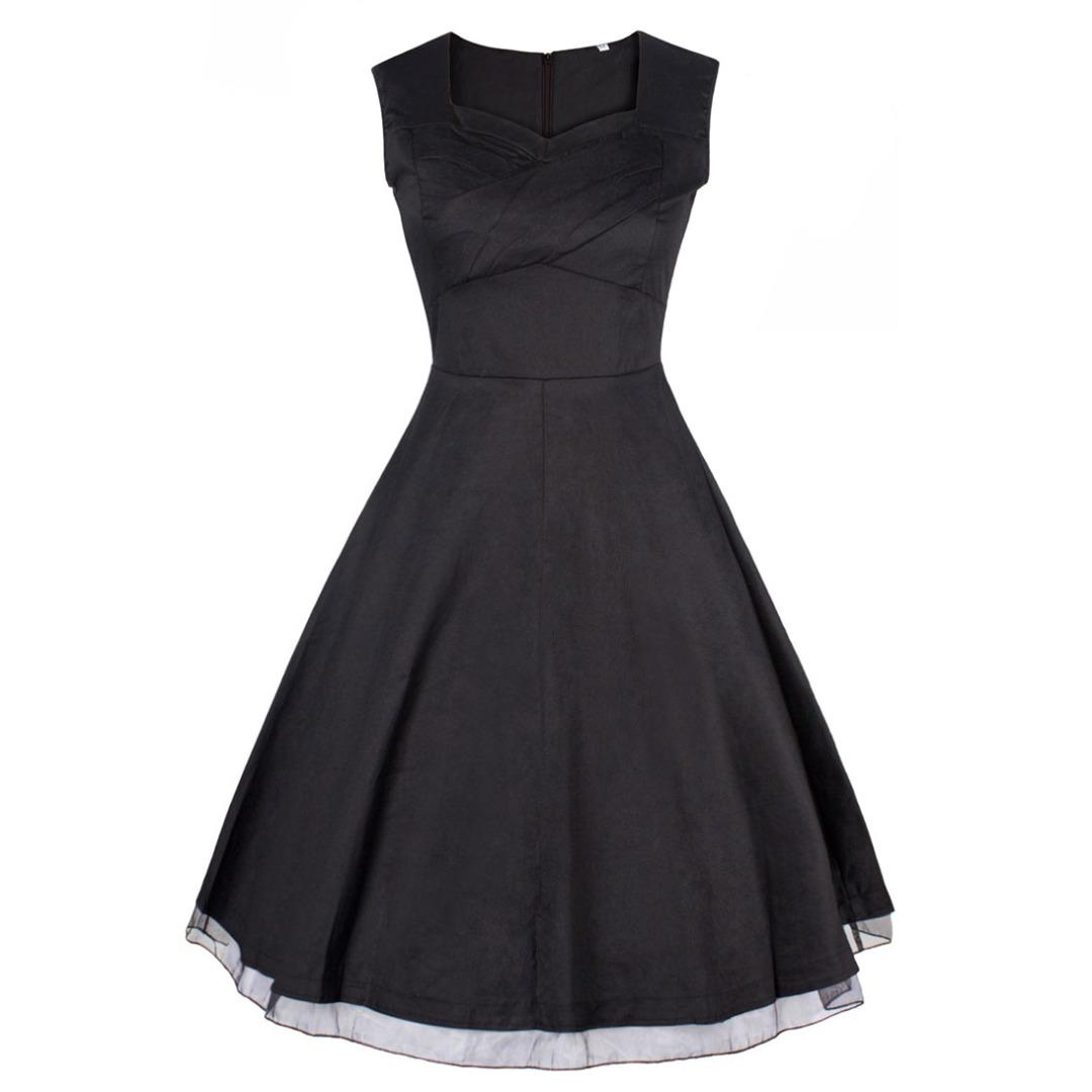 Elegant Sleeveless Dress in Black for Women 31035-en-USD-S