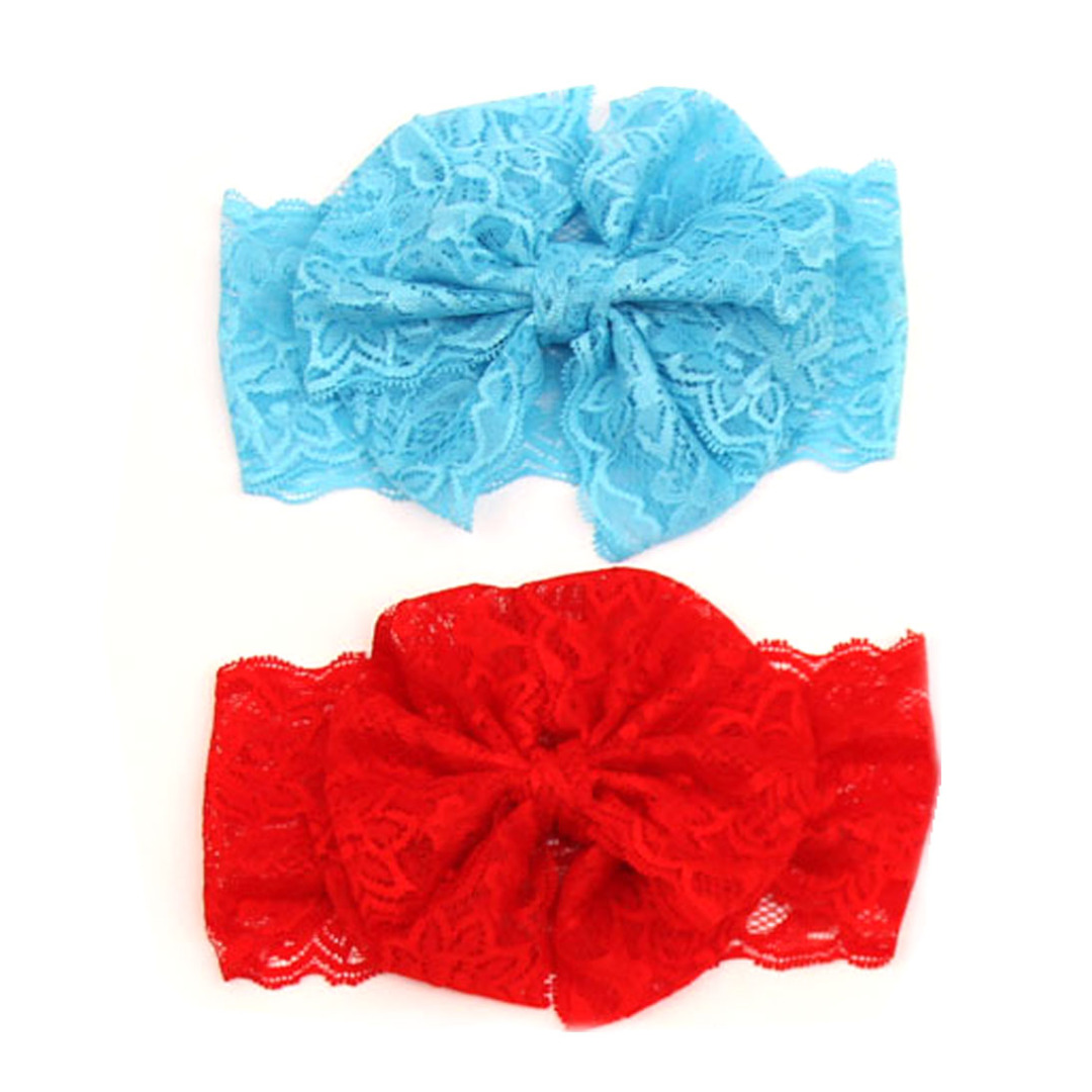 Sweet Girl's Lace Head Wrap(2 pack) Blue and Red