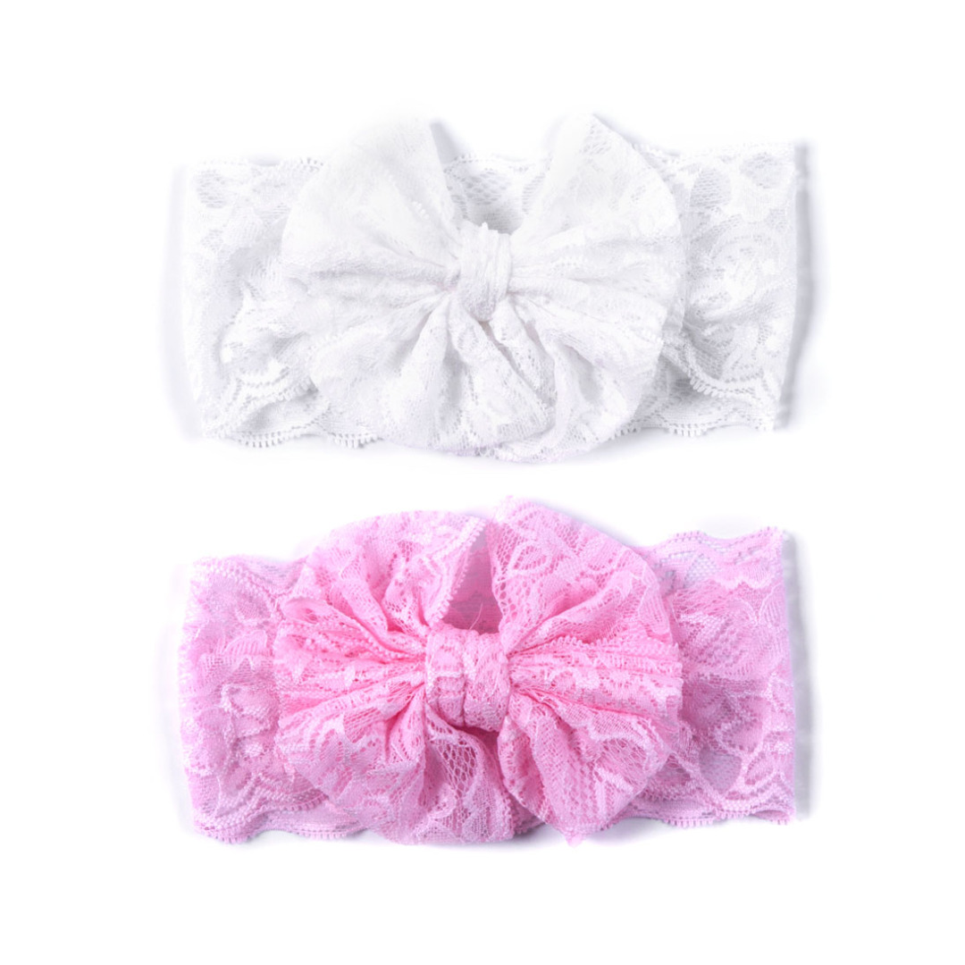 Sweet Girl's Lace Head Wrap(2 pack) White and Pink