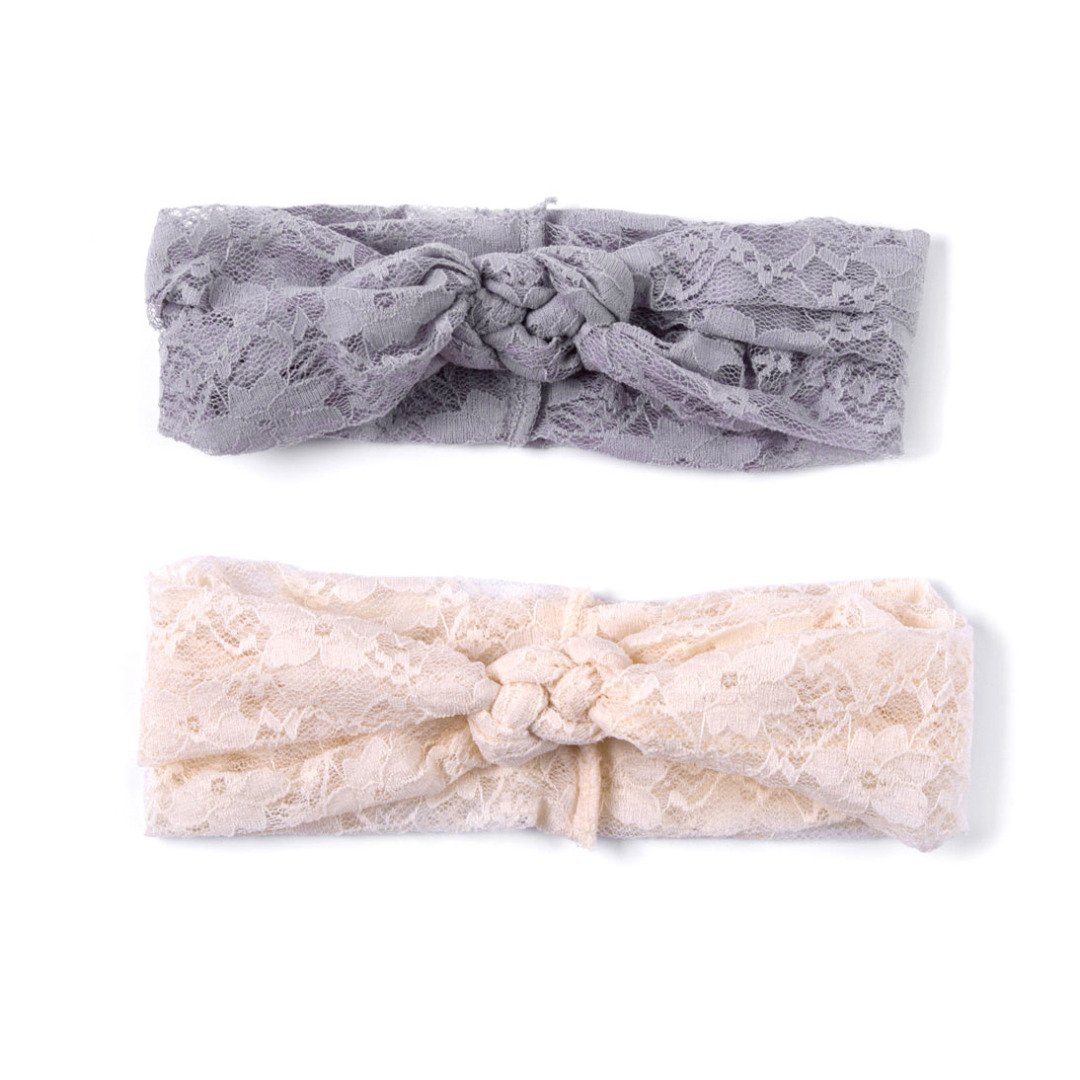 Soft Lace Head Wrap in Gray and Beige(2 pack)