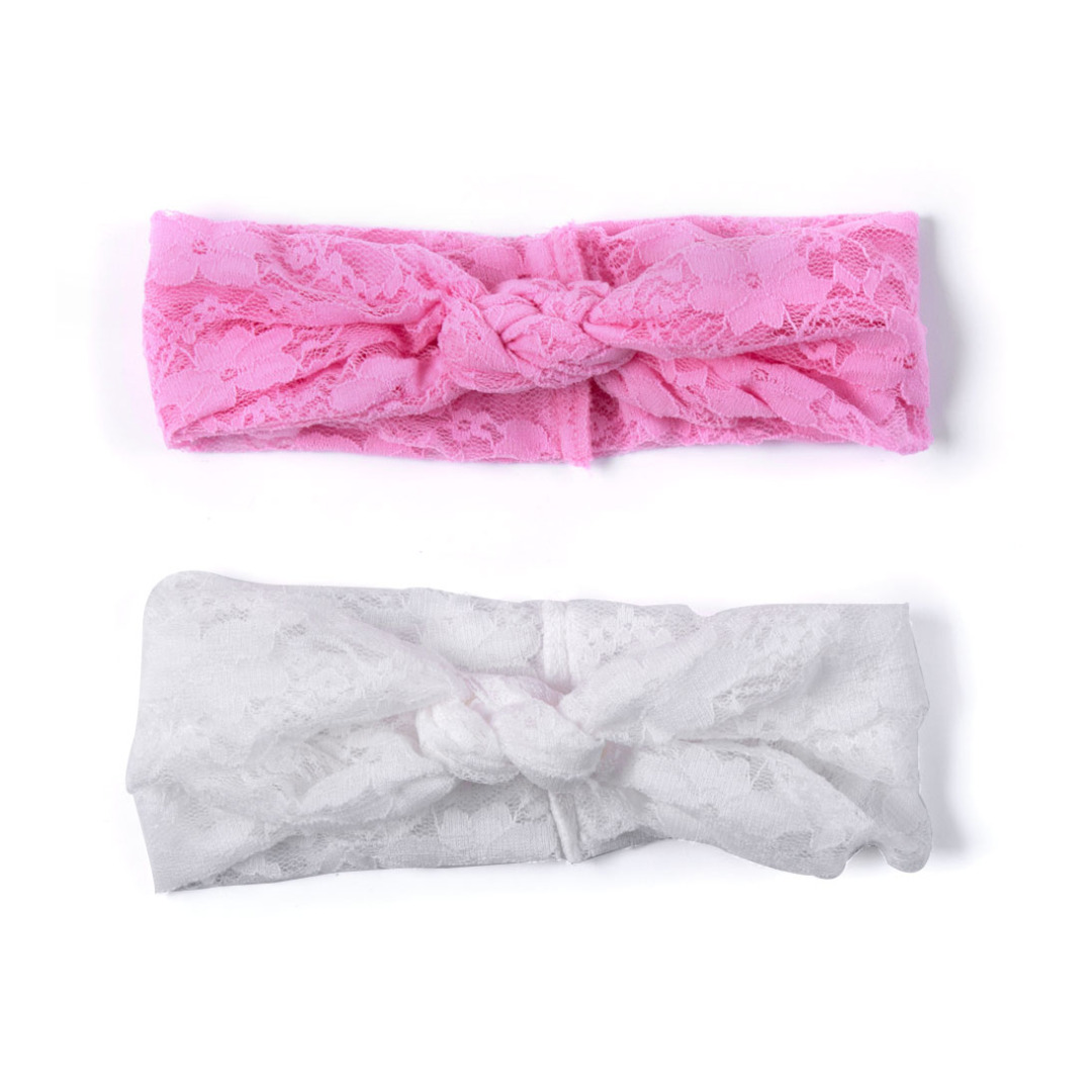 Soft Lace Head Wrap in White and Pink (2 pack)