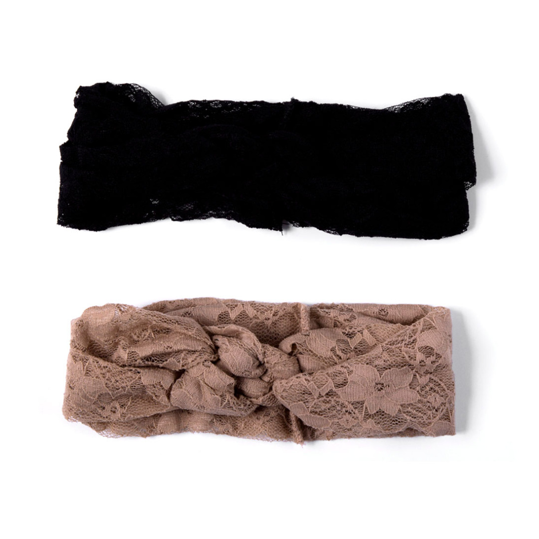 Soft Lace Head Wrap in Black and Khaki(2 pack)