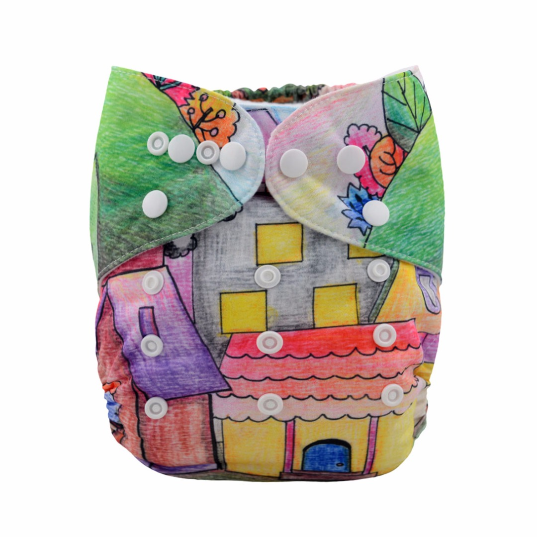 Baby Reusable & Washable & Adjustable Peter & Puppy Pocket Diaper With Insert