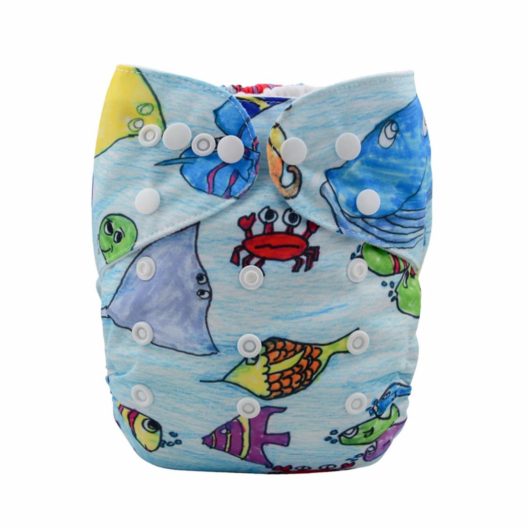 Baby Reusable & Washable & Adjustable We Love Ocean Diaper with Insert