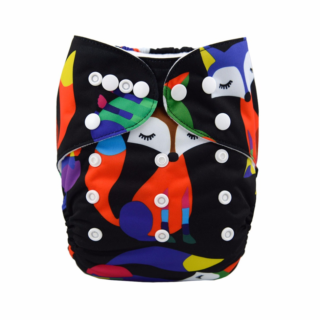 Baby Reusable & Washable & Adjustable Pondering Fox Pocket Diaper With Insert