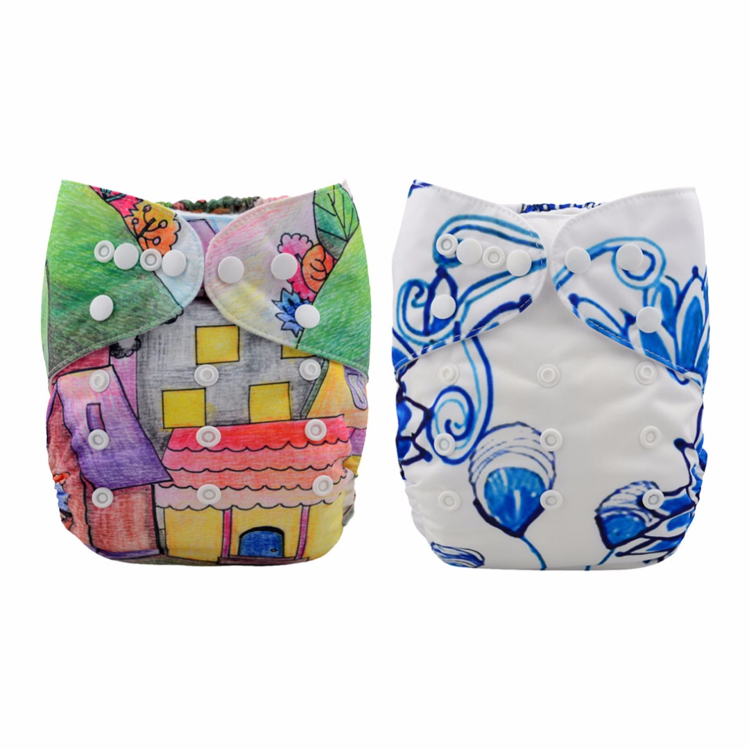 Baby Reusable & Washable & Adjustable Peter & Puppy and Blue Peacock Diapers With Inserts